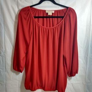 Michael kors red balloon sleeve blouse